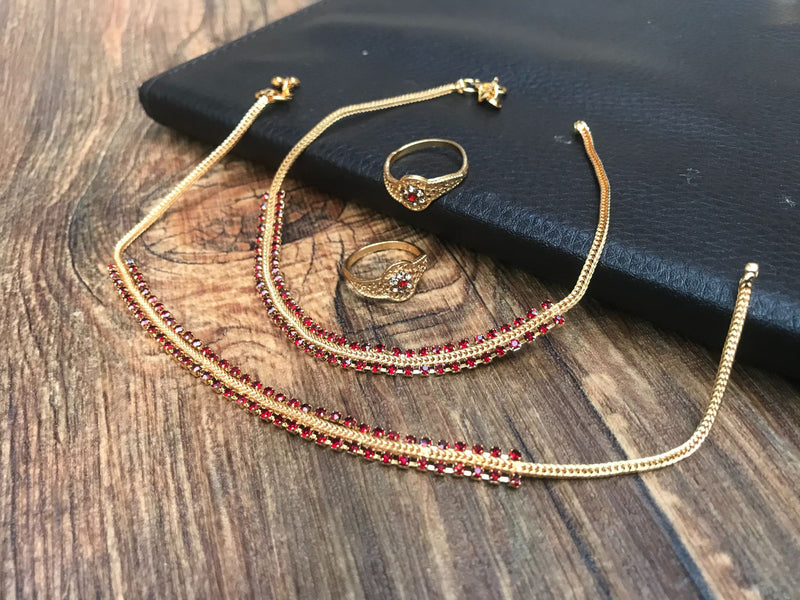 Ruby Red Gold Anklet Toerings Combo Jewellery