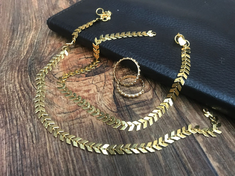 Wonderful Gold Anklet Toerings Combo Jewellery