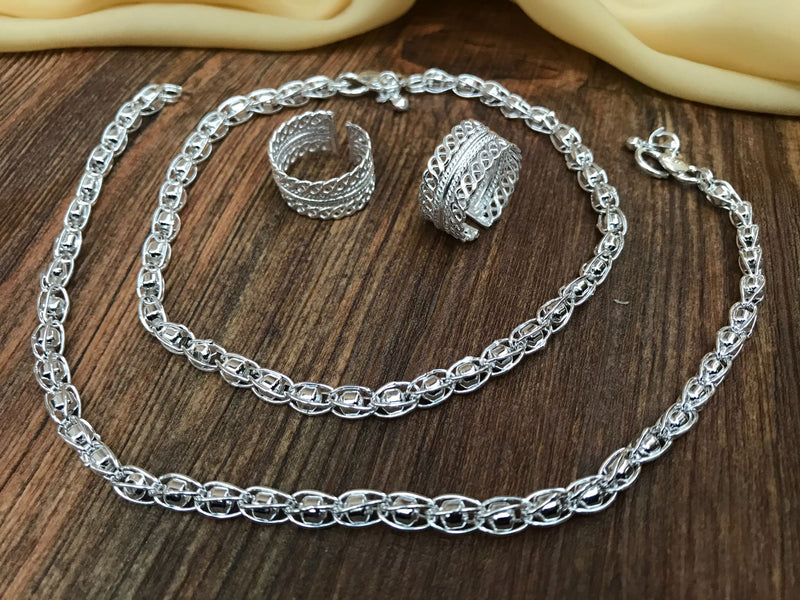 Charming Silver Anklet Toerings Combo Jewellery