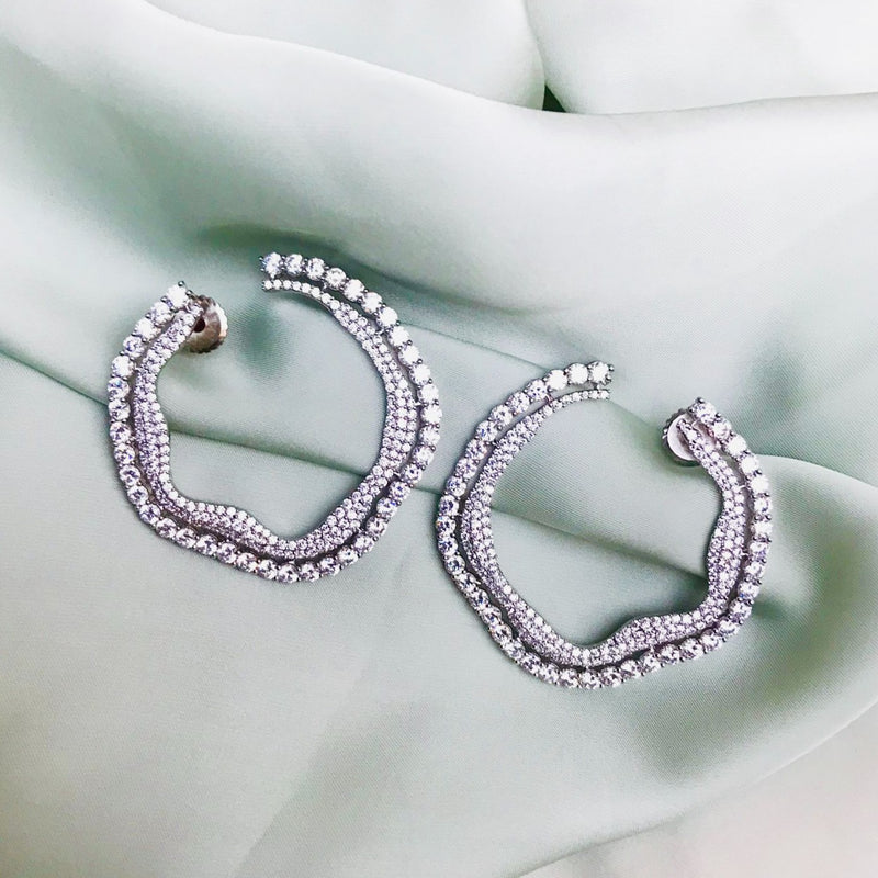Sparkling Silver Diamond Earrings