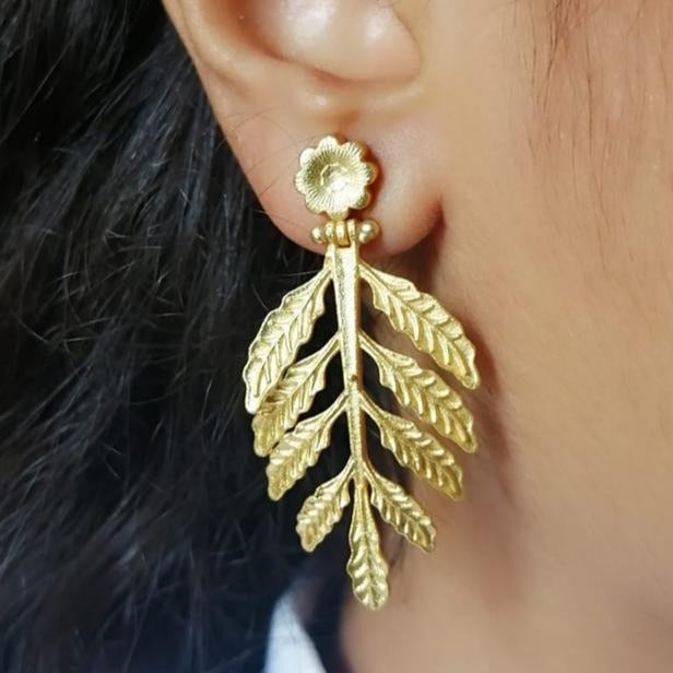Tree Leafs Matt Gold Earring