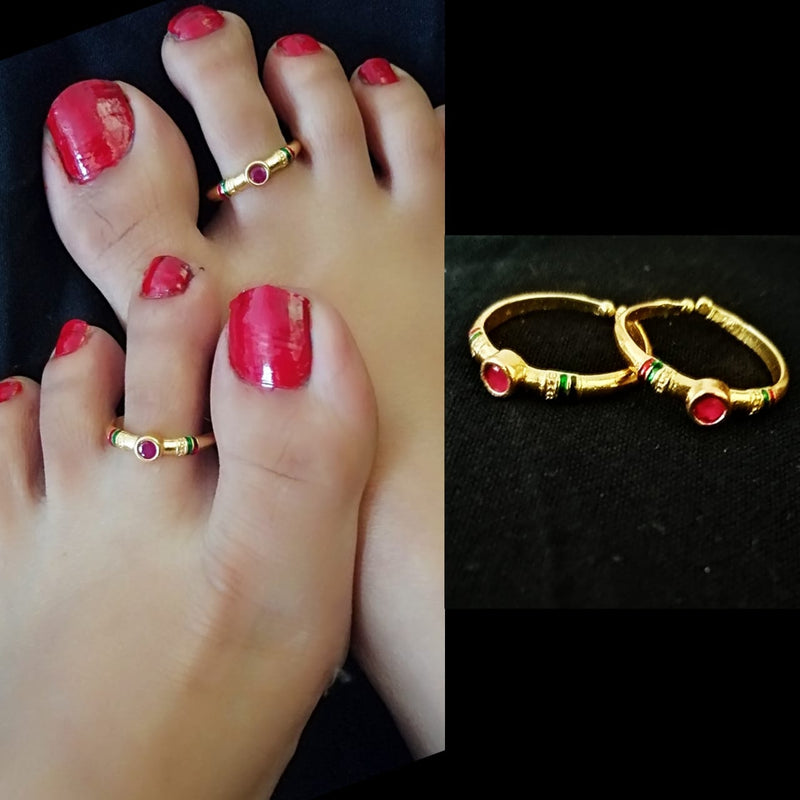 Round Pink Stone Gold Plated Toe Rings