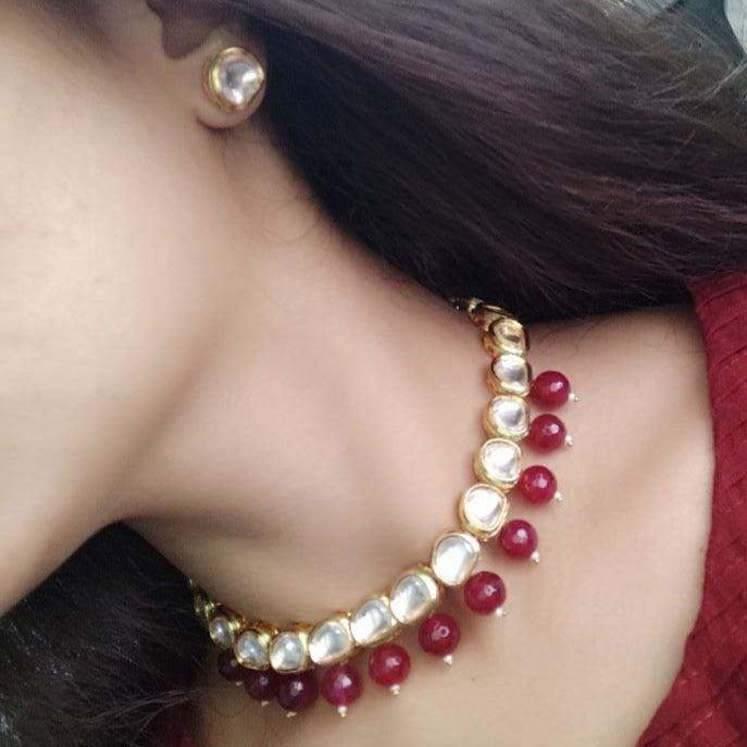 Gold Plated Red Drop Kundan Choker Necklace