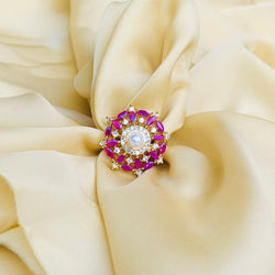Pink American Diamond Pearl Ring