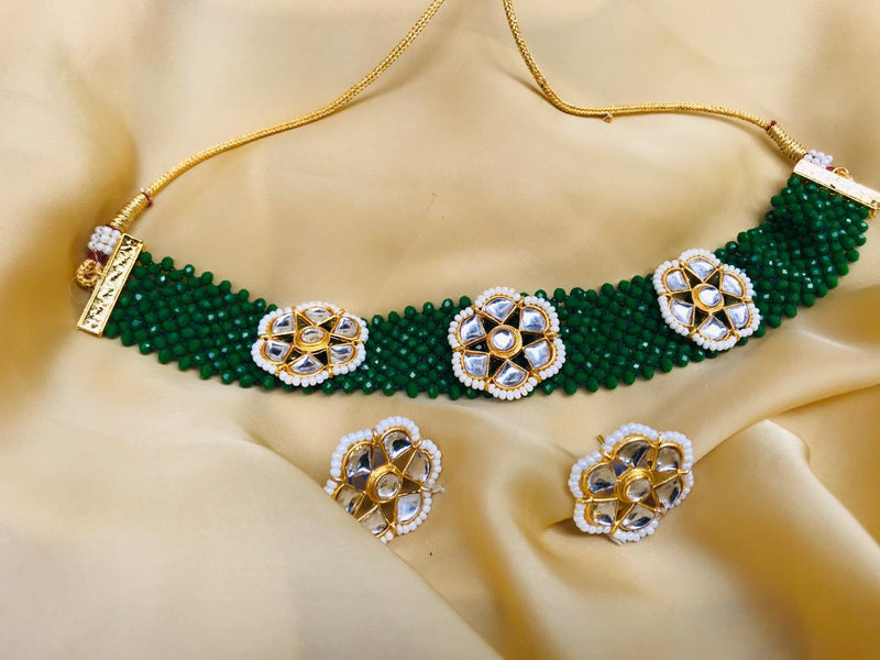 Green Kundan Beaded Choker Necklace