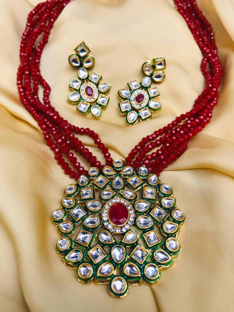 Beautiful Red Beaded Kundan Necklace