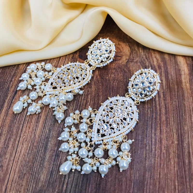 Drop White Meena Kundan Earrings
