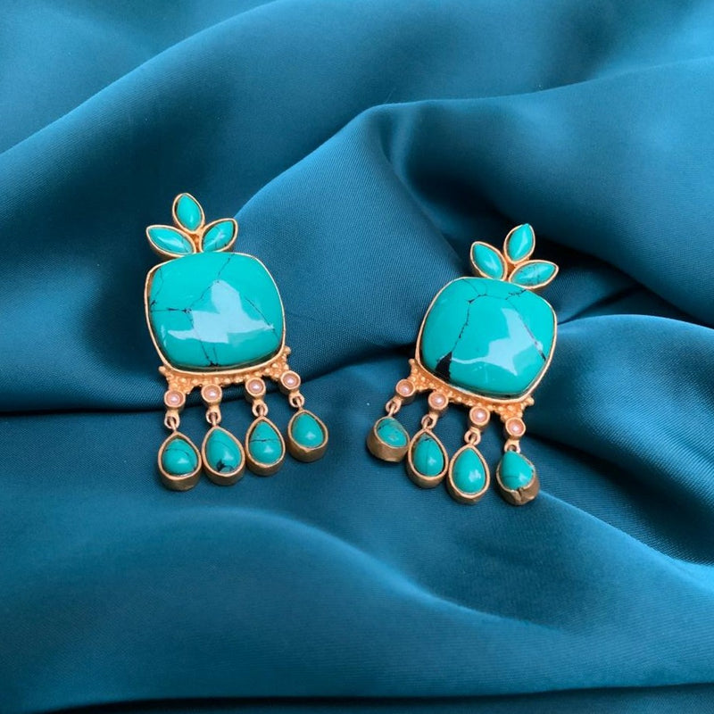 Square Drop Shape Turquoise Earring