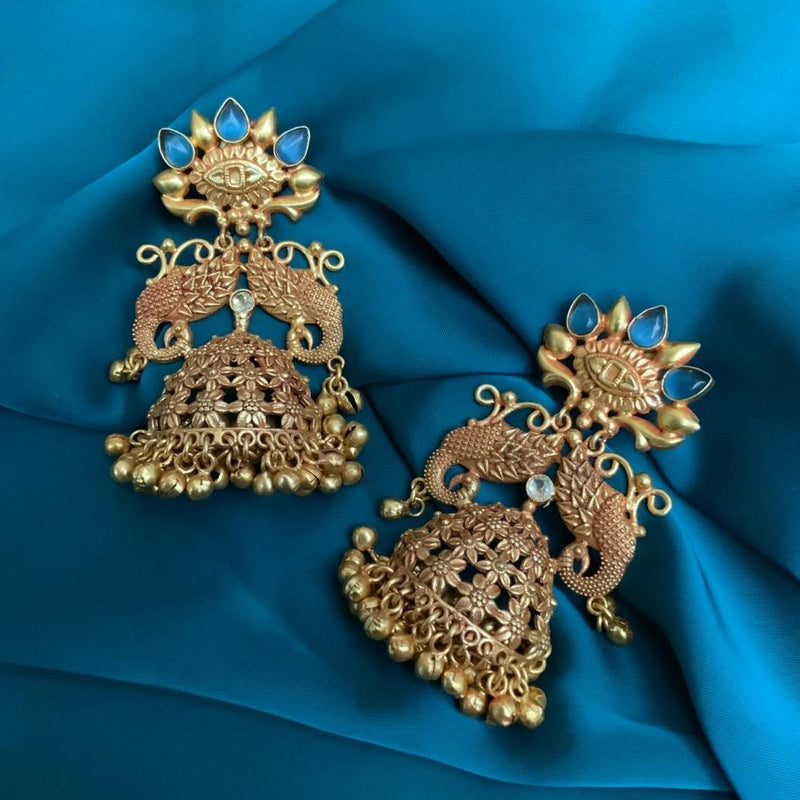 Antique High Quality Two Peacock Style Large Matte Jhumka Earrings
