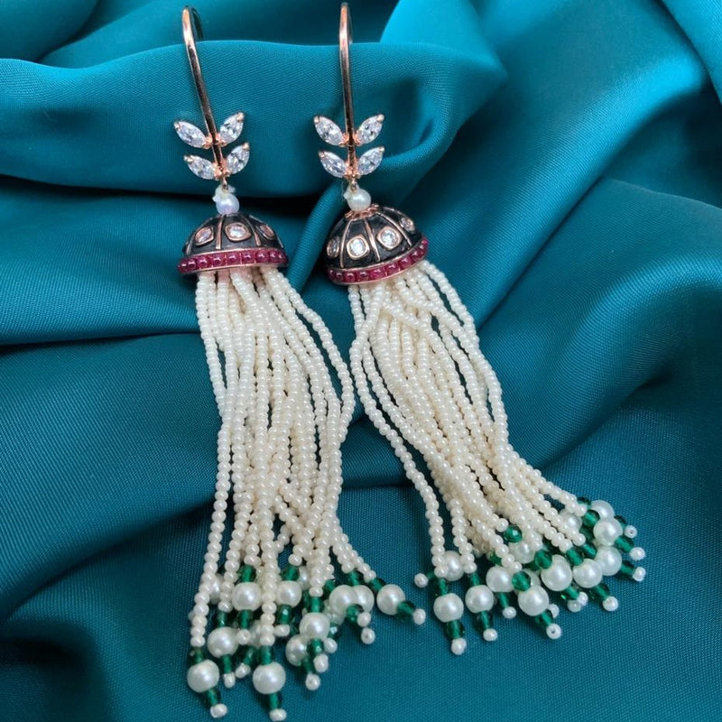 Meenakari Hanging Pearl White & Green Drop Earrings