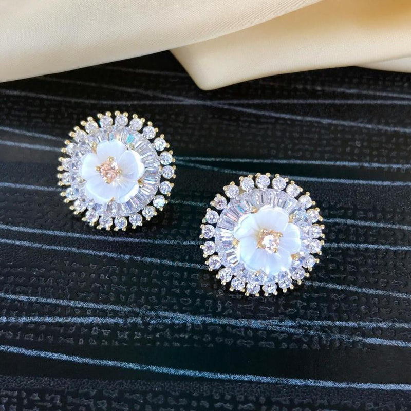 Beautiful Fancy White Flower Design Stud Earring