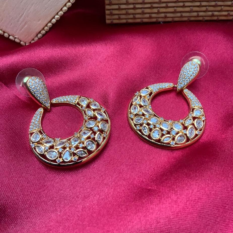 American Diamond Rose Gold Round Earring