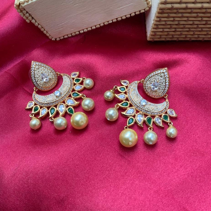 Gold Plated Kundan & White Pearl Drop Earring