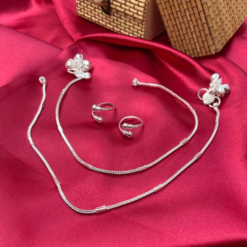 Beautiful Silver Anklet Toerings Combo Jewellery