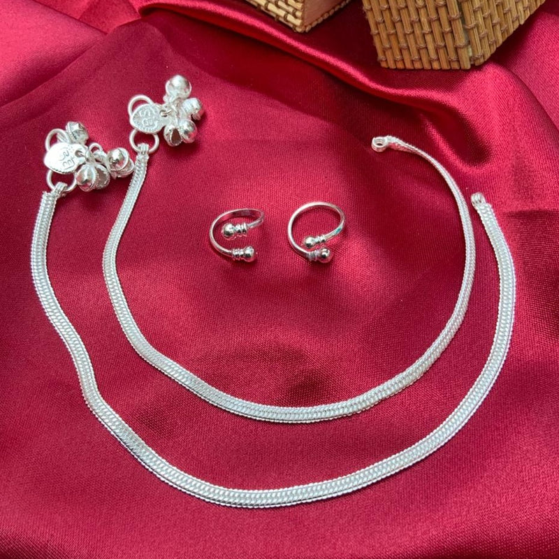 Elevated Silver Anklet Toerings Combo Jewellery