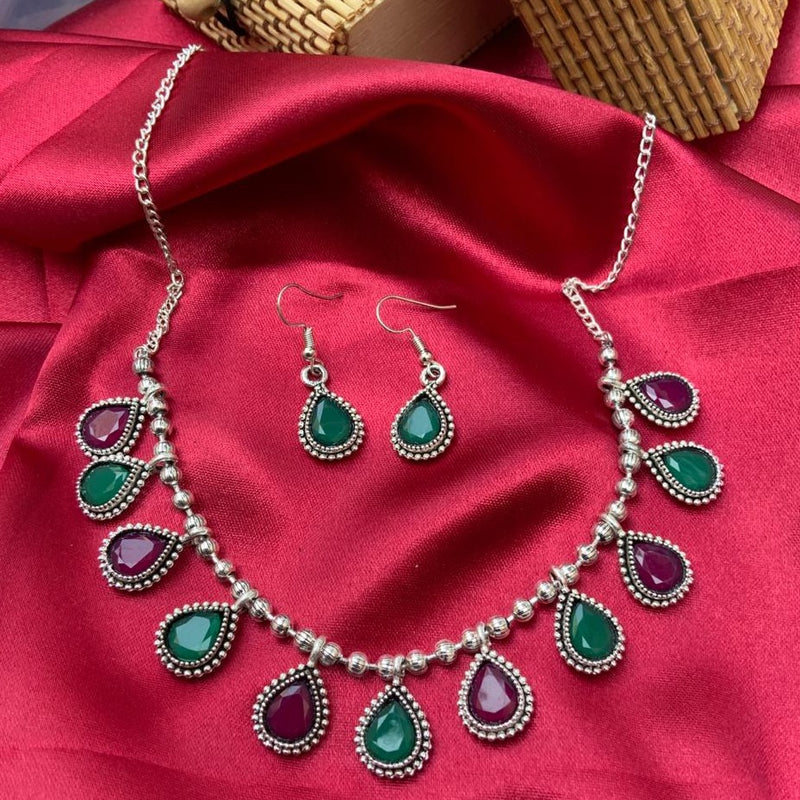 Silver Multicolour Drop Shape Necklace