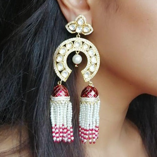 Ruby Kundan Pearl Earrings