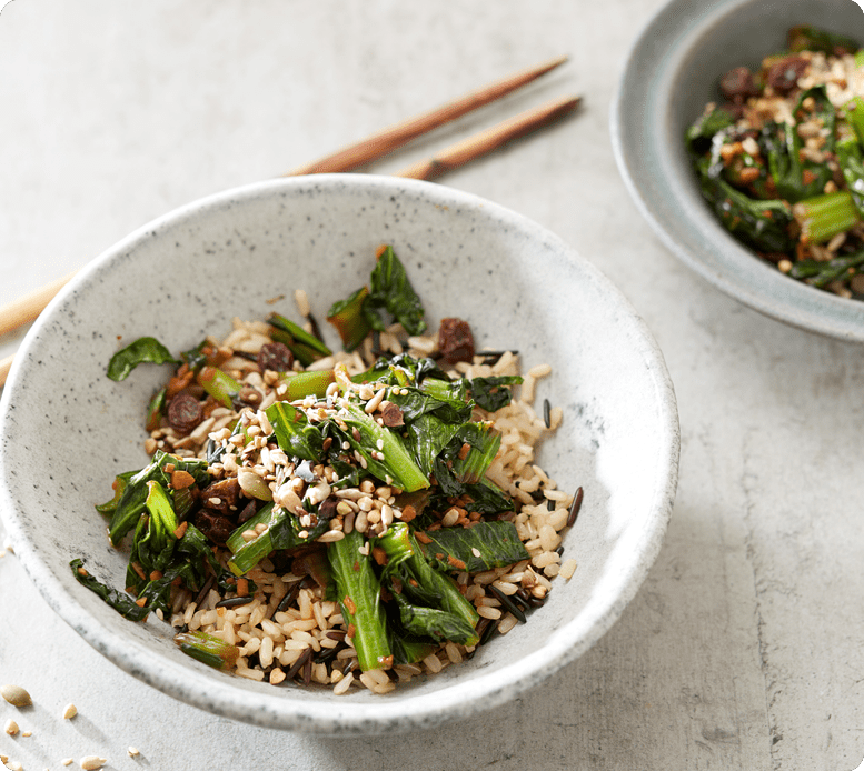 Choy Sum stir fry with Brown and wild rice