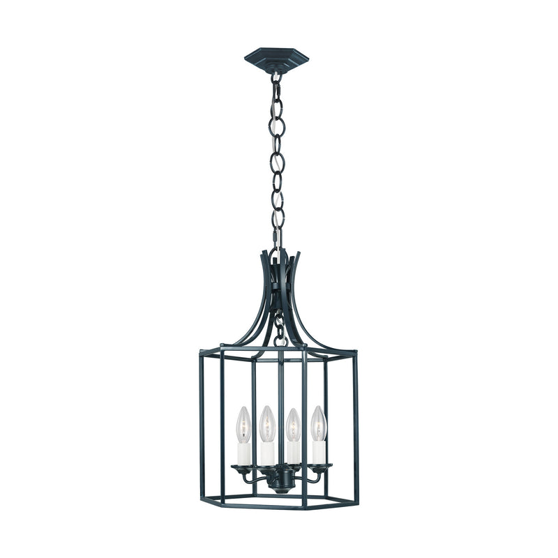 Generation Lighting - AC1004DBL - Four Light Pendant - AH by Alexa Hampton - Dutch Blue
