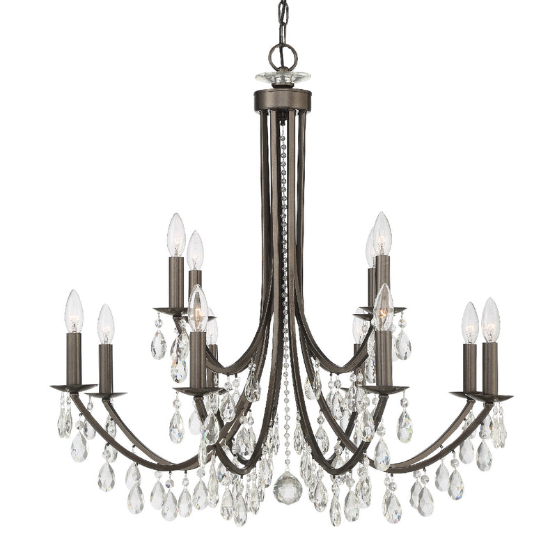 Crystorama - 8829-VZ-CL-MWP - 12 Light Chandelier - Bridgehampton - Vibrant Bronze