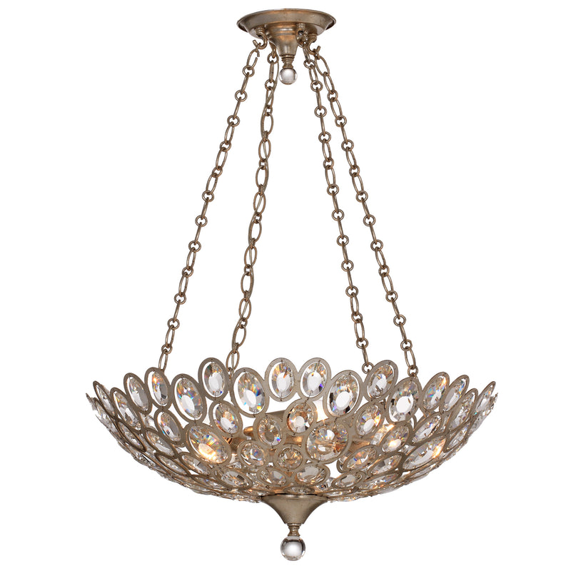 Crystorama - 7587-DT - Five Light Chandelier - Sterling - Distressed Twilight