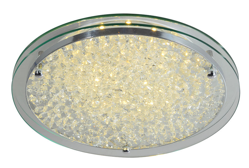 LÁMPARA LED DE TECHO TIPO PLAFÓN SUPERFICIAL DECORATIVA DE CRISTAL MARCA HOME DELIGHT DE 12W. TEMPERATURA DE COLOR DE 3000K