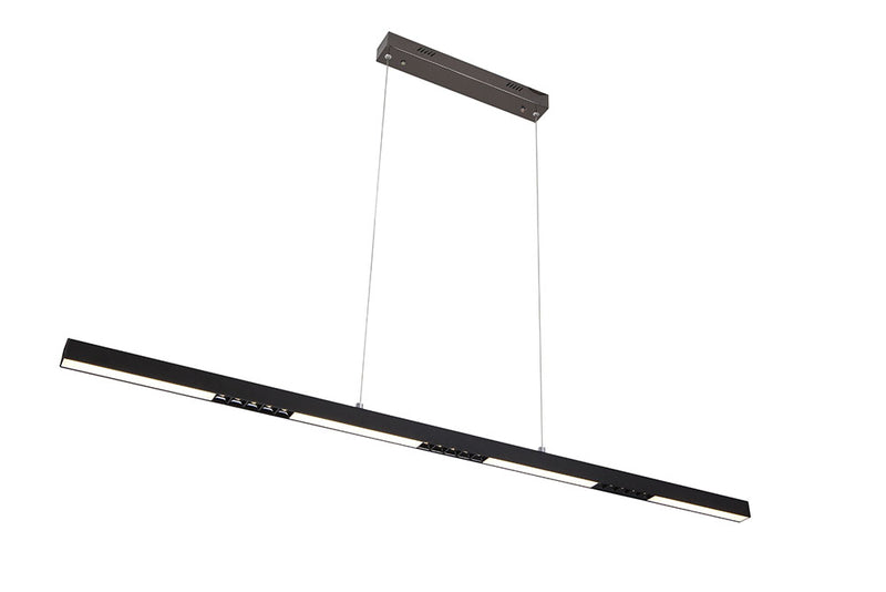 LAMPARA COLGANTE LINEAL LED, 35W 2000LM 6000K, NEGRO MATE,  IP20110-277V 1338X80MM