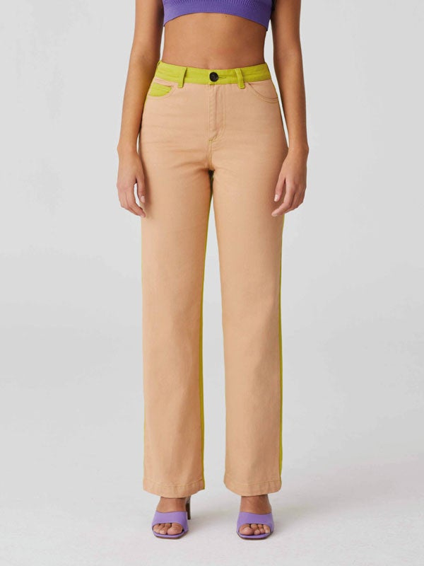 High waisted 5 pockets bicolour pants with straight leg by Paloma Wool