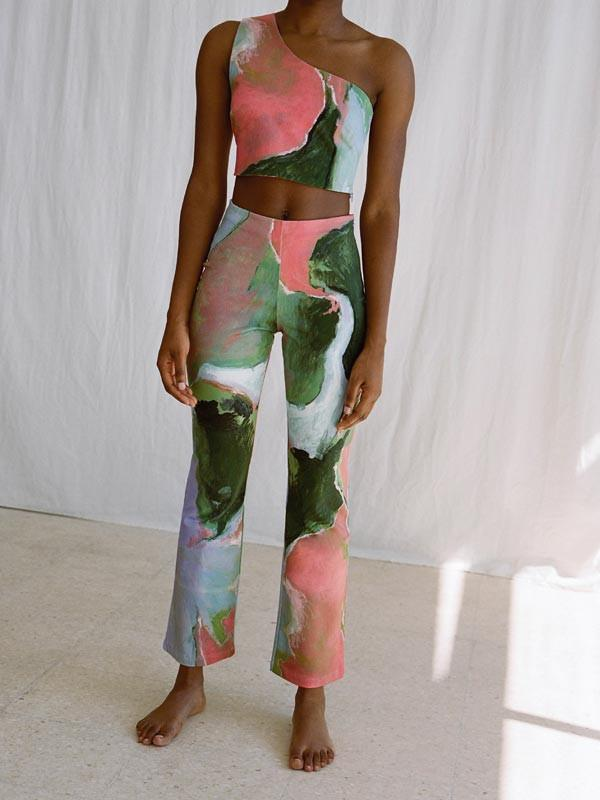High waisted trousers with print by Irene Royo