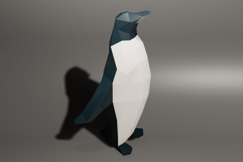 Low polygon penguin walk animation