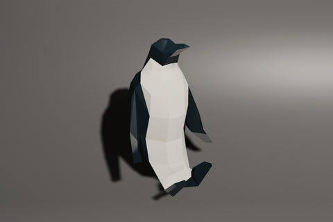 Low polygon penguin sit animation