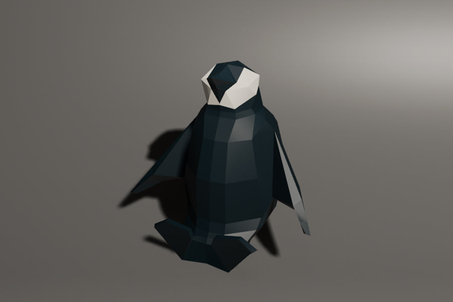 Low polygon baby penguin sit Animation
