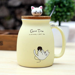 Good Time™ Cute Ceramics Cat Mug with Lid and Spoon