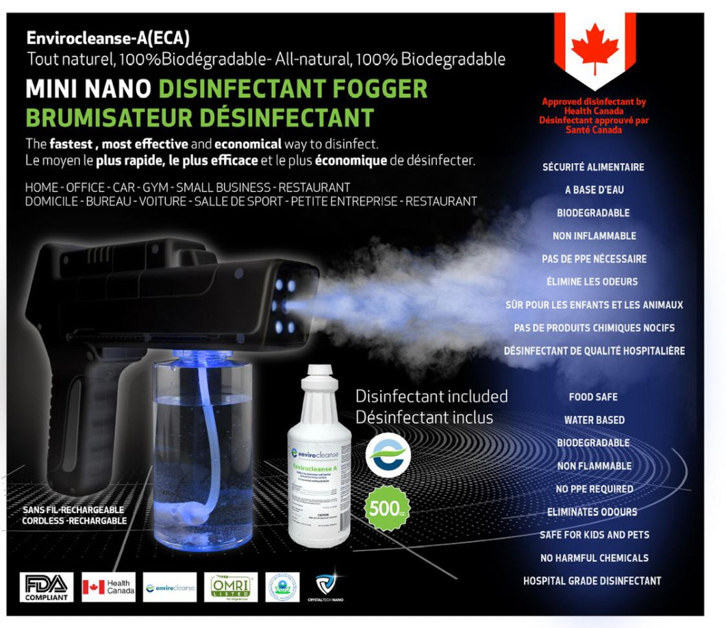 Cordless Mini  Electrostatic Fogger - Nano Home and Small Business  Fogger - Health Canada Approved