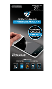 CrystalTech Nano Liquid Screen Protector With Consumer's Choice Warranty ($100-$200-$500) - For Phones, Tablets & Smart Watches