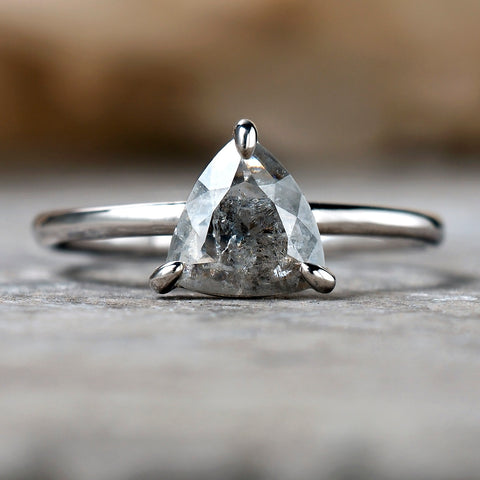 0.56ct Trillion Cut Salt & Pepper Diamond Solitaire Ring
