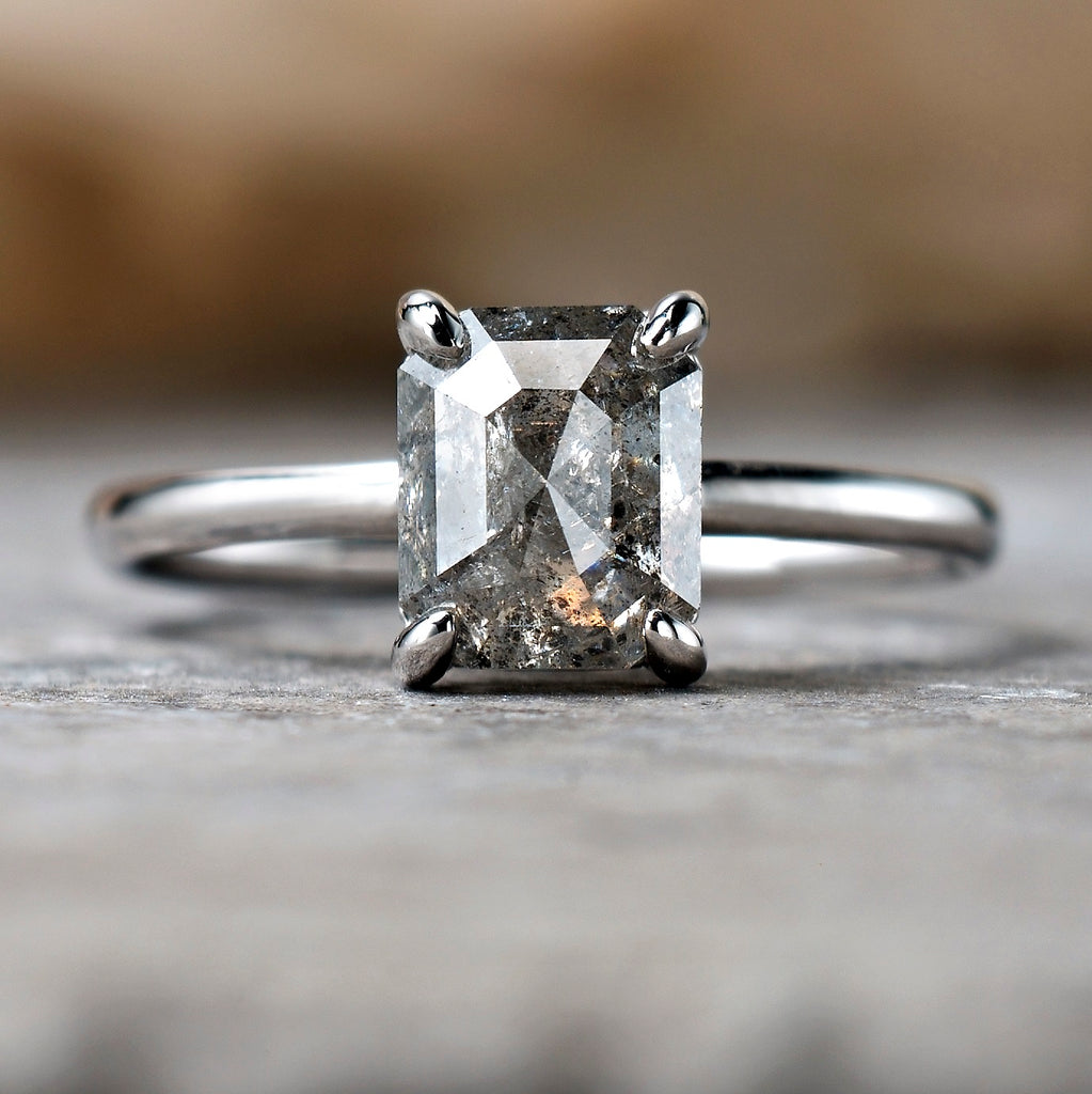 1.7ct Emerald Cut Salt & Pepper Diamond Solitaire Ring