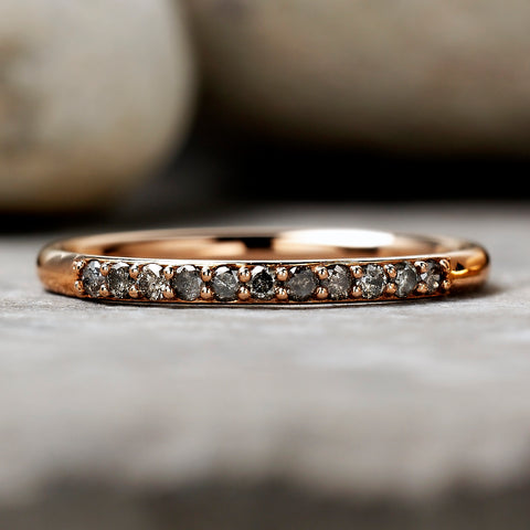 0.165ct Salt & Pepper Partial Eternity Diamond Ring (Rose Gold)