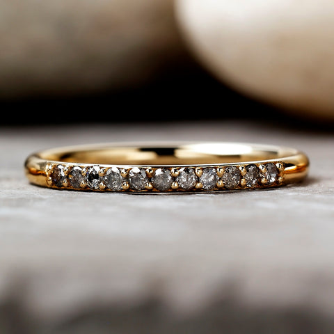 0.165ct Salt & Pepper Partial Eternity Diamond Ring (Yellow Gold)