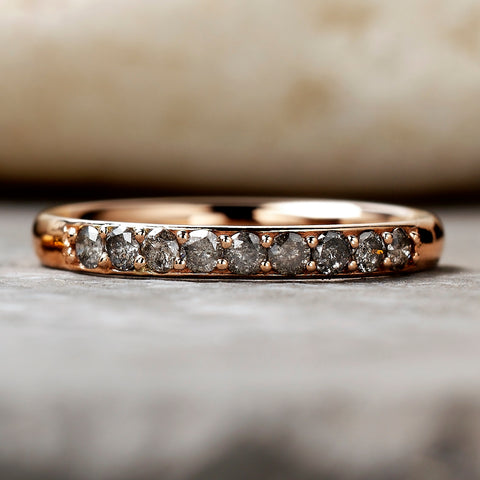 0.27ct Salt & Pepper Partial Eternity Diamond Ring