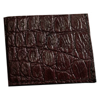 Bifold Leather Wallet With Crocodile Imprint