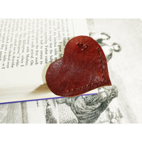 Red Heart Shaped Leather Bookmark