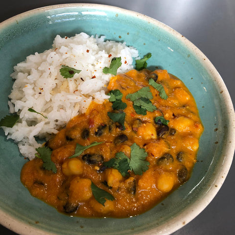 Pumpkin, black bean, & coconut curry