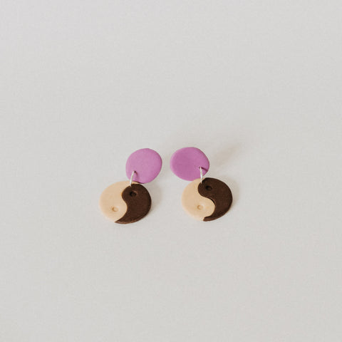 Yin Yang Earrings - brown