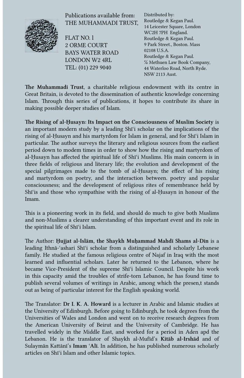 The Rising of Al-Husayn – Its Impact on the Consciousness of Muslim Society
