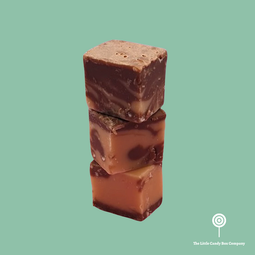 Peanut butter and chocolate flavoured marble fudge