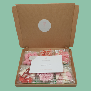 new baby gifts - pink and white sweets - baby shower box