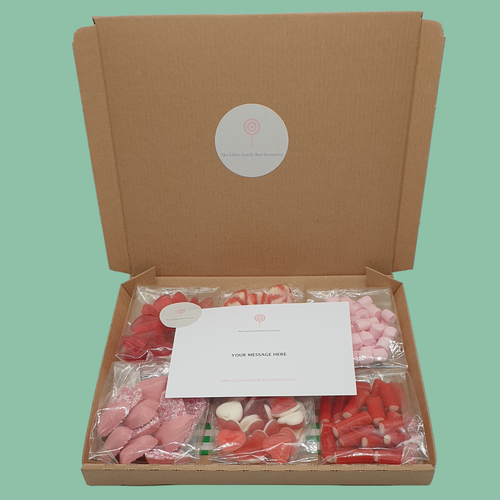 red and pink letterbox sweets
