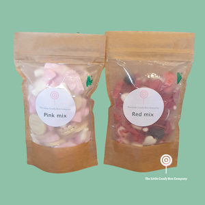 Personalised pink and red sweets in a biodegradable pouch bag