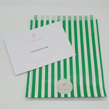 Load image into Gallery viewer, green and white candy striped paper sweet bag